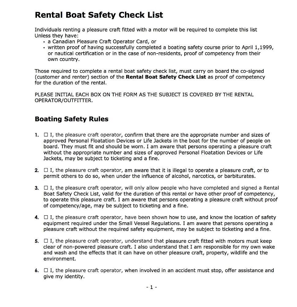 Rental Boat Safety Checklist