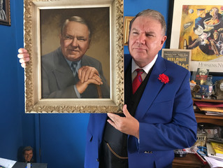 BIG DADDY PRESENTED WITH PORTRAIT OF W. C. FRIENDS OF FIELDS HOLLYWOOD CHAPTER