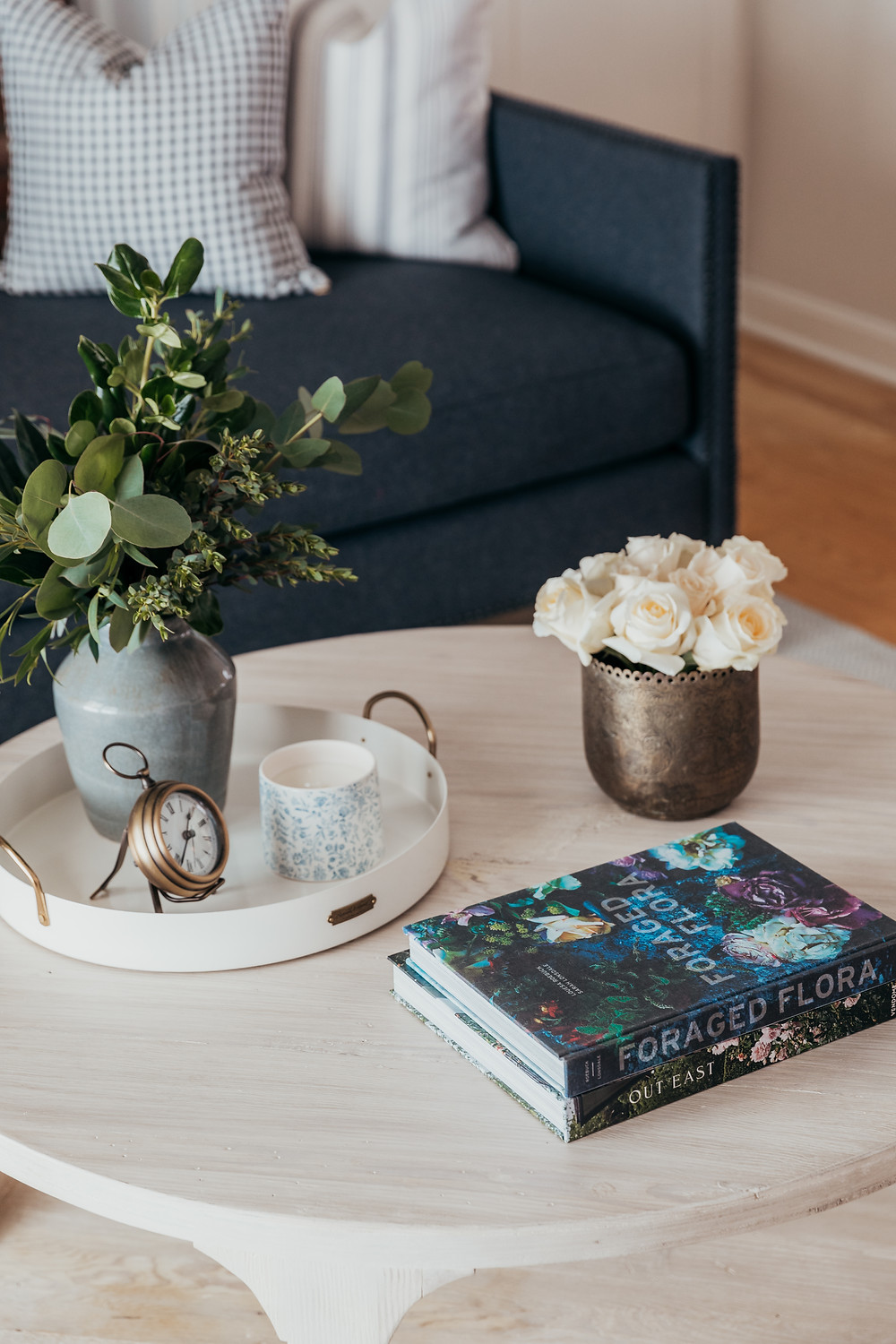 Coffee table styling by Christine McCall Home, a Pittsburgh based interior designer