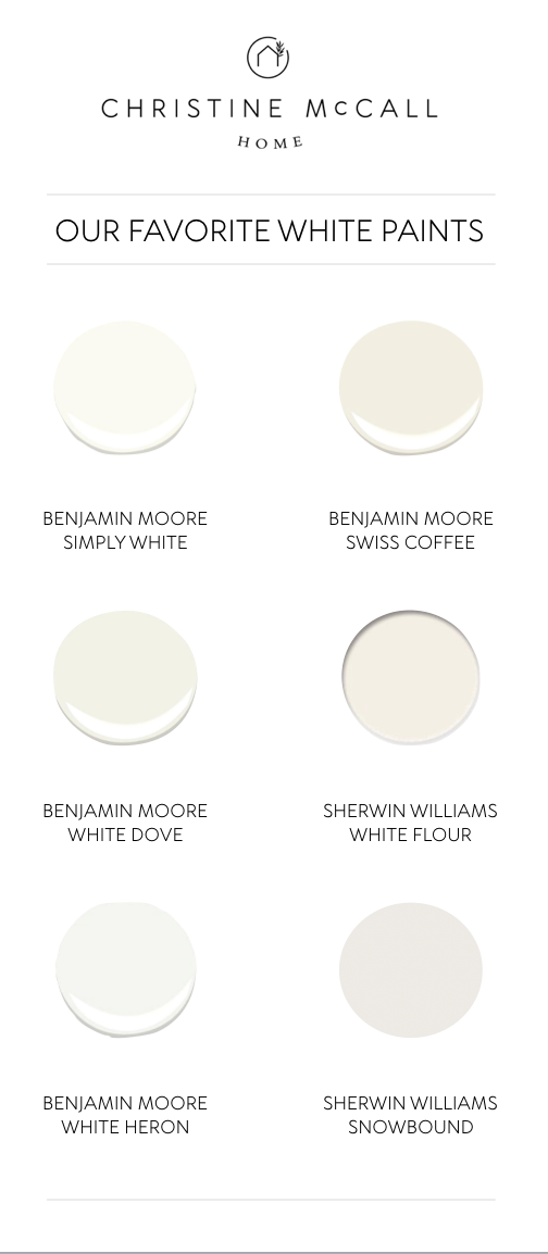 Favorite white paint options by Christine McCall Home, a Pittsburgh based interior designer