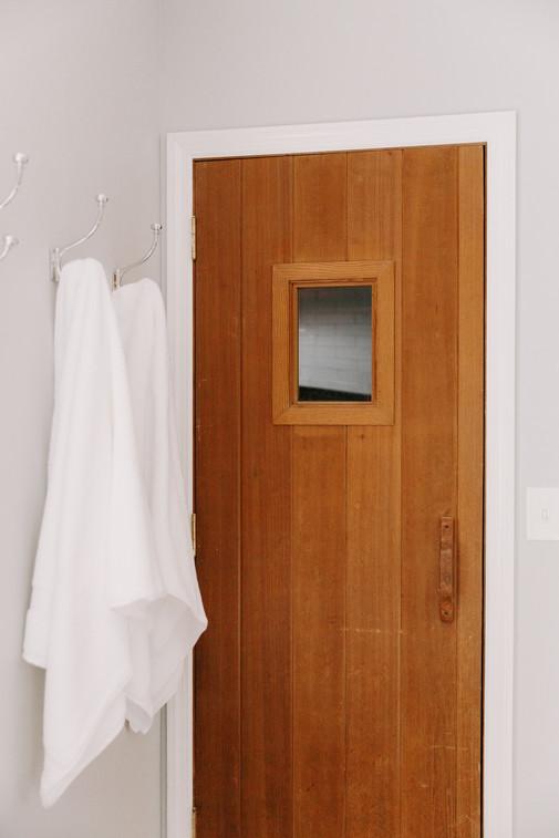 Teak Shower Door