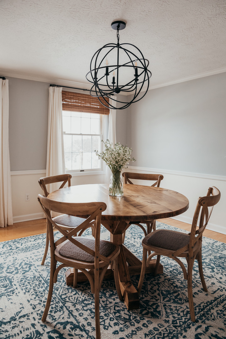 Round Wood Farmhouse Dining Table