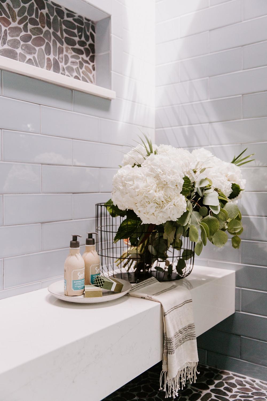 Master bathroom shower design by Christine McCall Home, a Pittsburgh based interior designer.