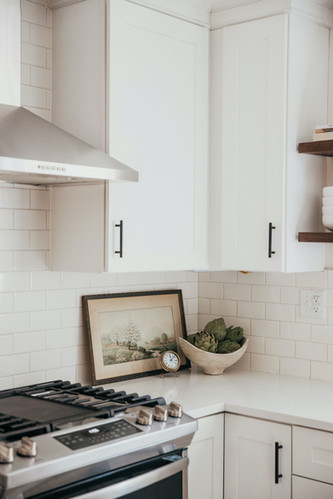 White Cabinetry with Black Drawer Pulls
