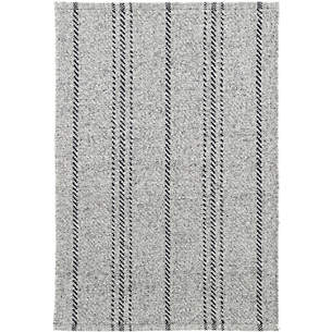 Melange stripe grey black indoor/outdoor rug