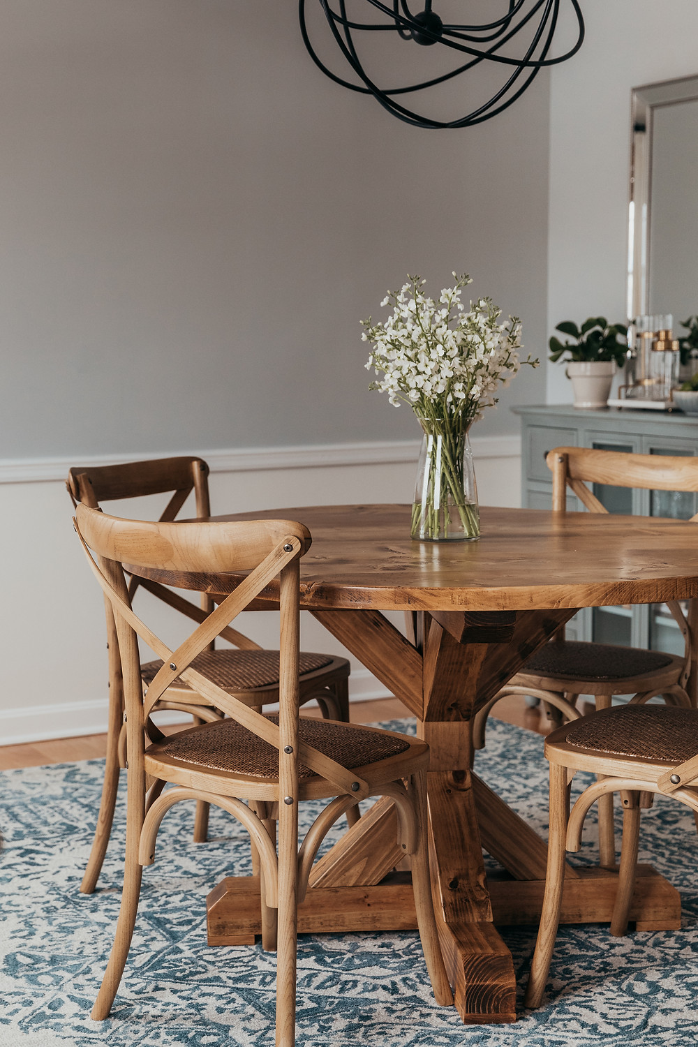 Dining room design with farmouse dining table from Christine McCall Home, Pittsburgh based interior designer