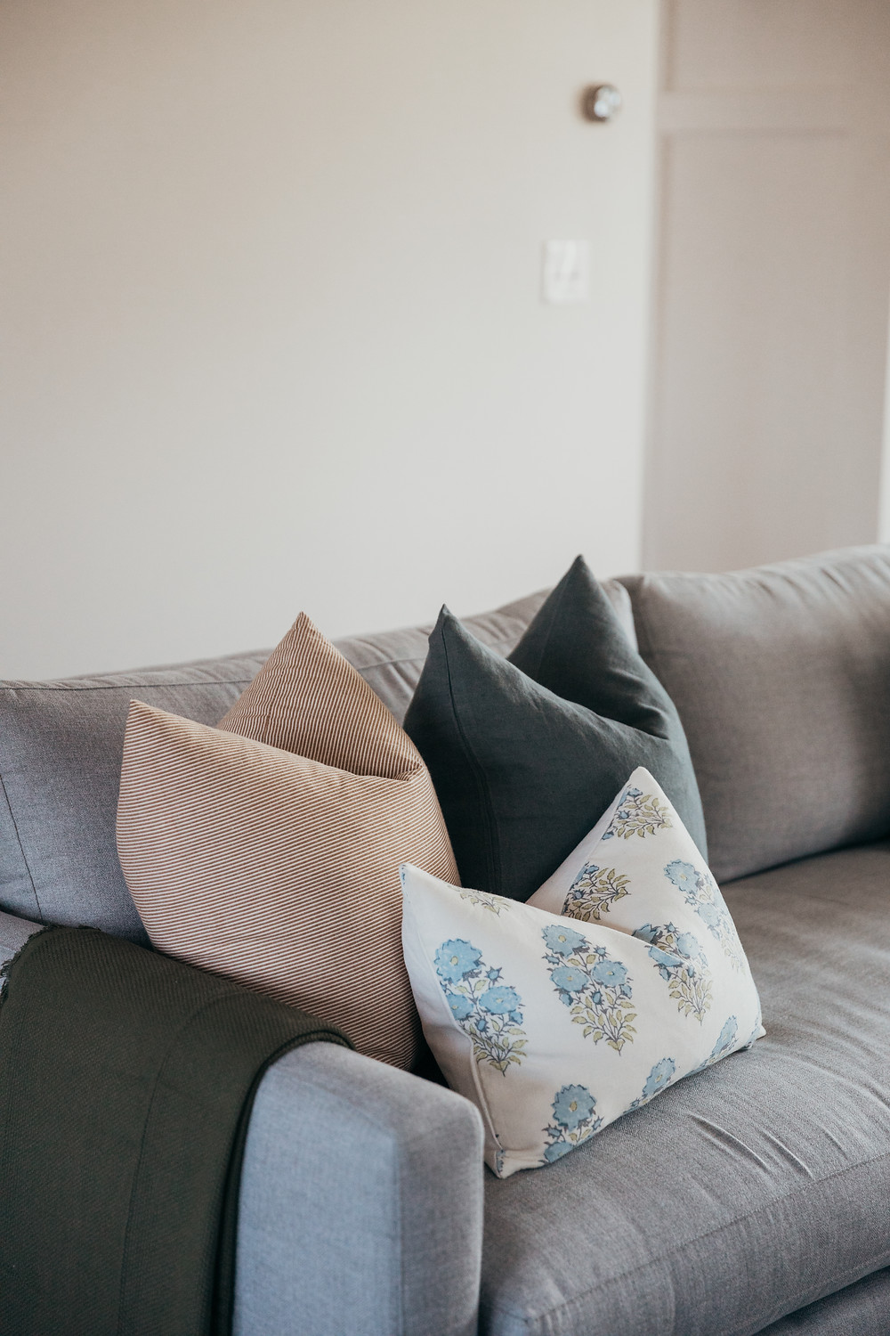 Throw pillows and pillow styling by Christine McCall Home, a Pittsburgh based interior designer