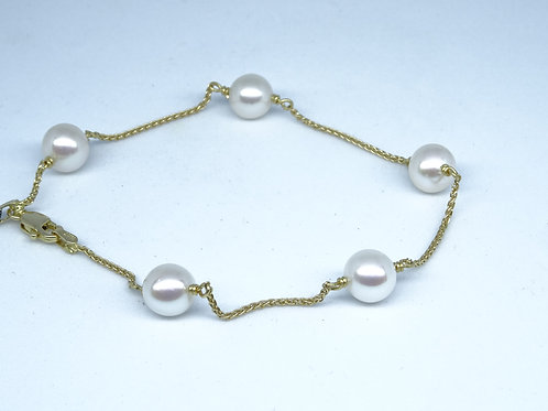 Pearl yellow gold bracelet