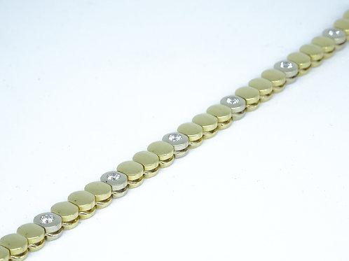 Yellow & white gold & diamond tennis bracelet