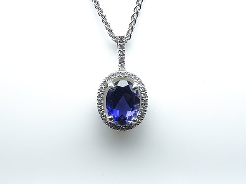 Iolite & diamond pendant