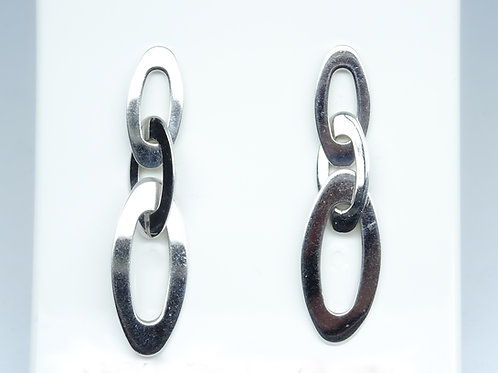 White gold oval link earrings