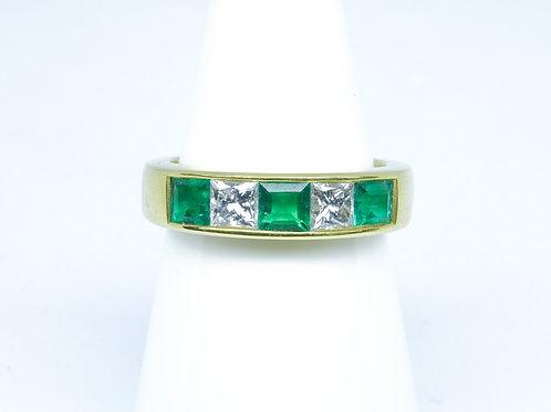 Emerald & diamond princess cut ring