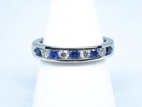 Sapphire & diamond channel set ring