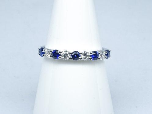 9 stone sapphire & diamond eternity ring