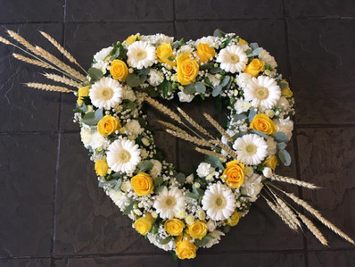 Yellow and White Funeral Heart