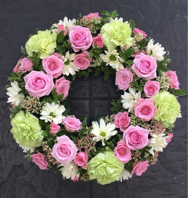 Green and Pink Open Ring Wreath