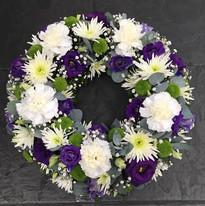 Purple and white wreath