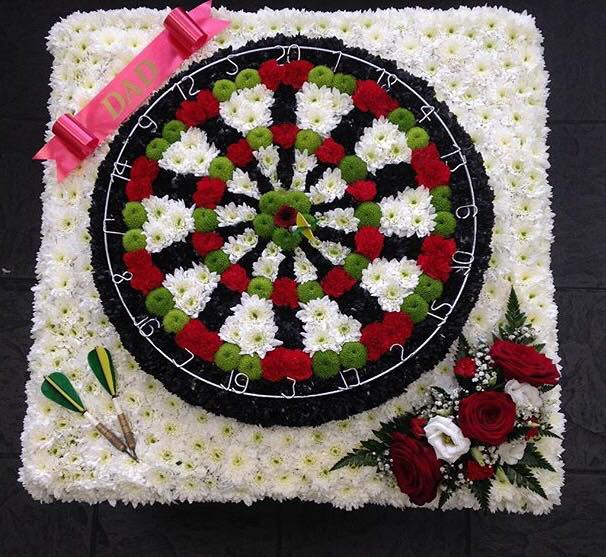 Dartboard Funeral Arrangement
