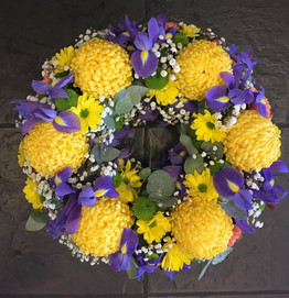 funeral wreaths uk - Yellow and Purple Flowers