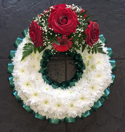 Classic White Wreath with Red Rose