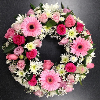 Pink Condolence wreath uk