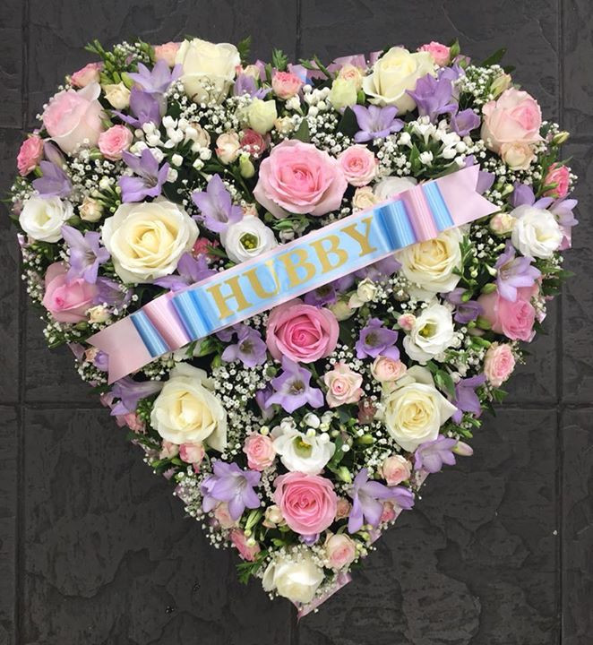 Pink and Purple Funeral Heart