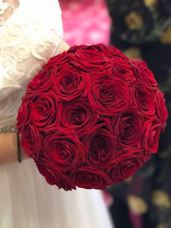 Deep Red Rose Hand-tied Bouquet