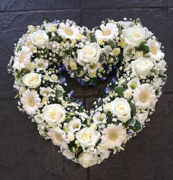 open heart funeral flowers