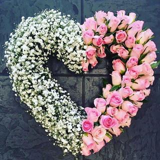 Half White, Half Pink Open Heart