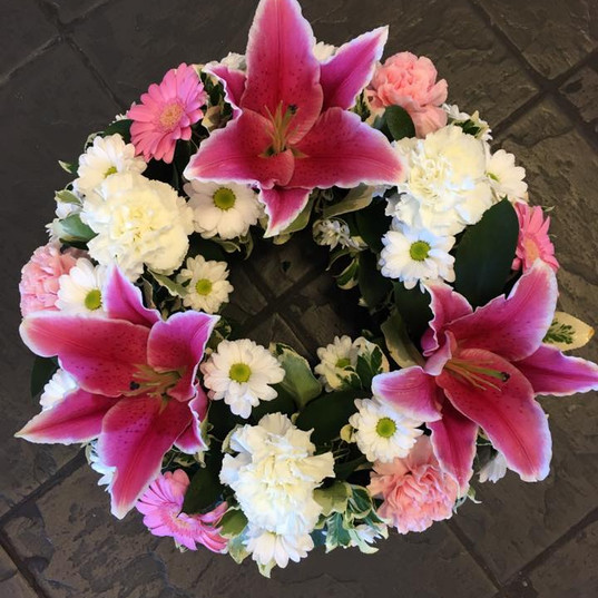 Small Purple and Pink  Funeral Wreath.jp