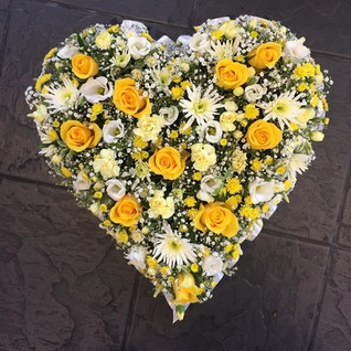 Yellow and Cream Sympathy Heart Wreath