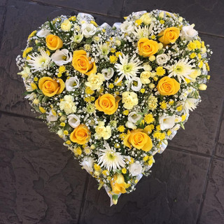 Yellow and Cream Sympathy Heart Wreath