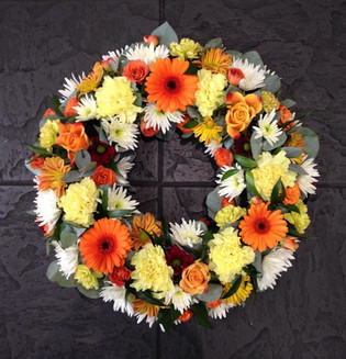 Orange Wreaths for funeral