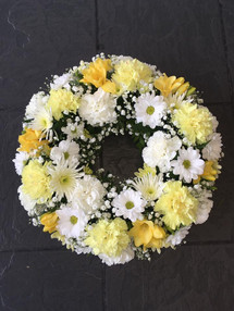 Yellow and Cream Funeral Wreaths
