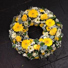 Yellow condolence wreath Birmingham