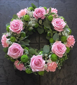 Pink Roses Funeral Wreath