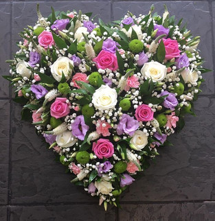 Pinks and Purples Funeral Heart