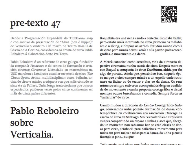 PRETEXTO/ Pablo Reboleiro. Programación Expandida TRC Danza