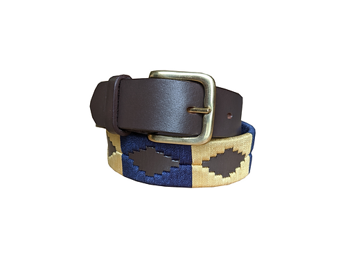 Gold and Blue Polo Belt