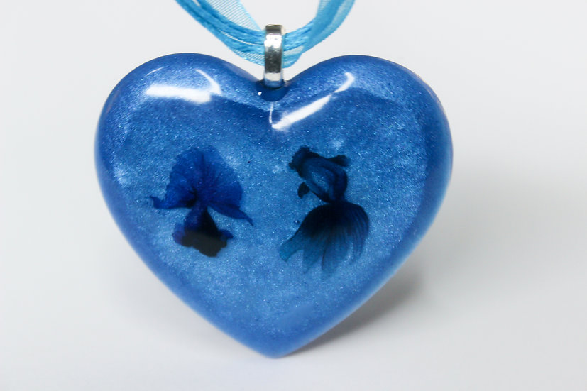 Butterfly Tail Goldfish Heart Necklace