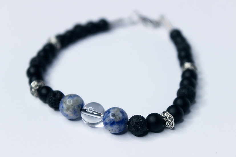 Sodalite and Clear Quartz Aromatherapy Bracelet