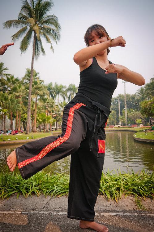 Special Black Thai Fisherman Pants w/ Red Stripe