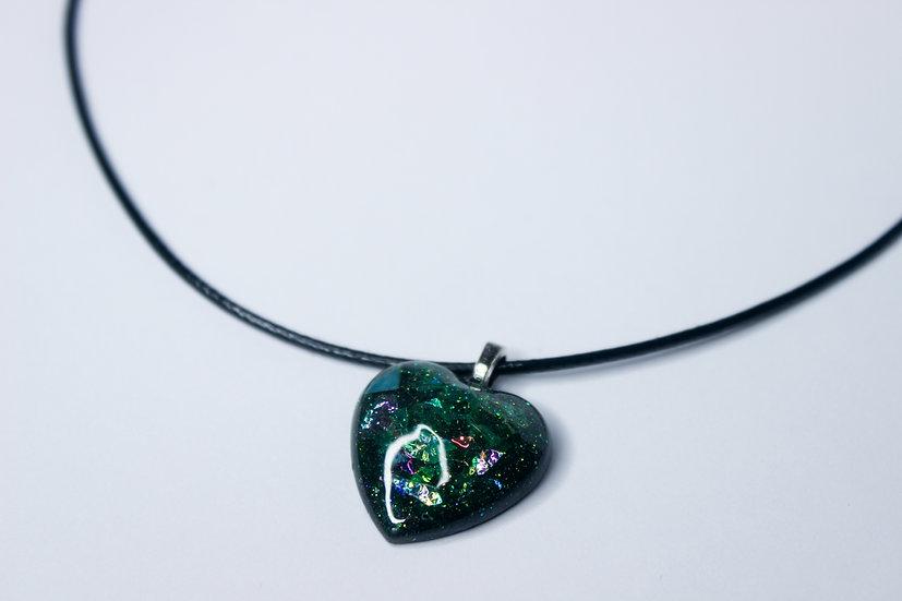 Dark Shimmer Heart Necklace