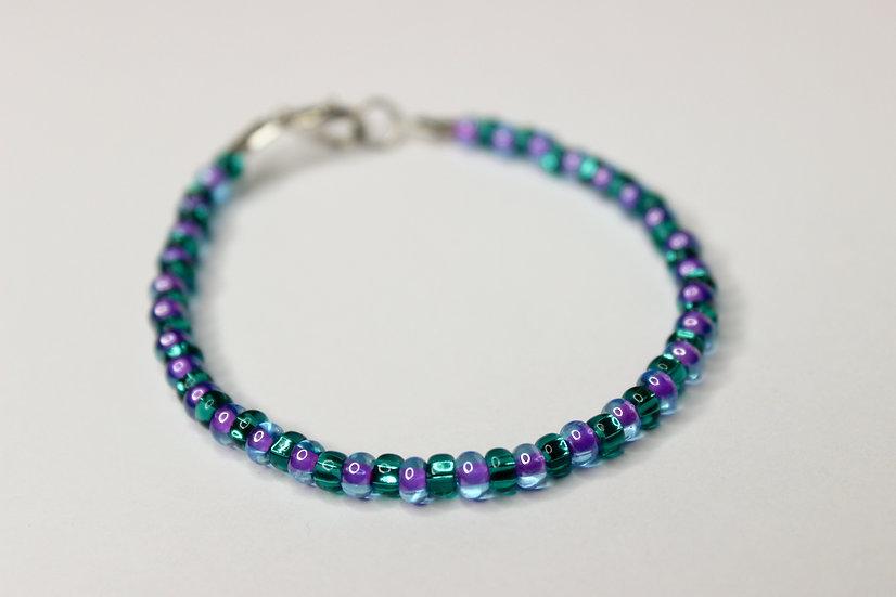 1-1 Pattern Aqua and Tranclucent Purple-Lined Seed Bead Bracelet