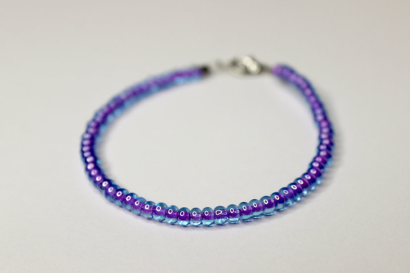 Solid Tranclucent Purple-Lined Seed Bead Bracelet