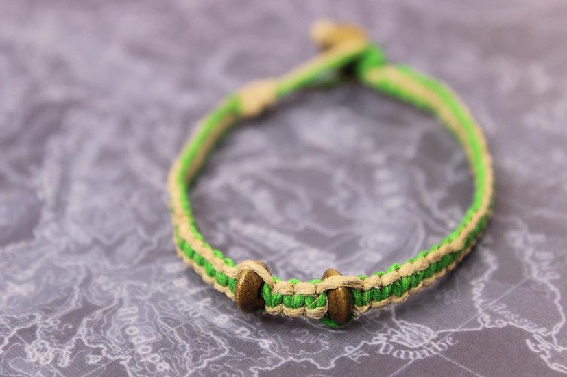 Green and Natural Wooden Snake Bite Bracelet