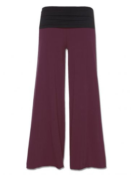 Burgundy Flowy Roll-top Pants