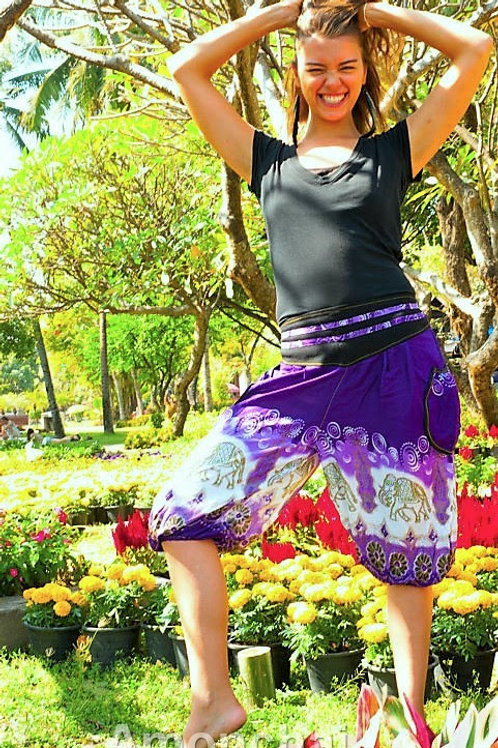 Purple & White Thai Shorts w/ Elephants