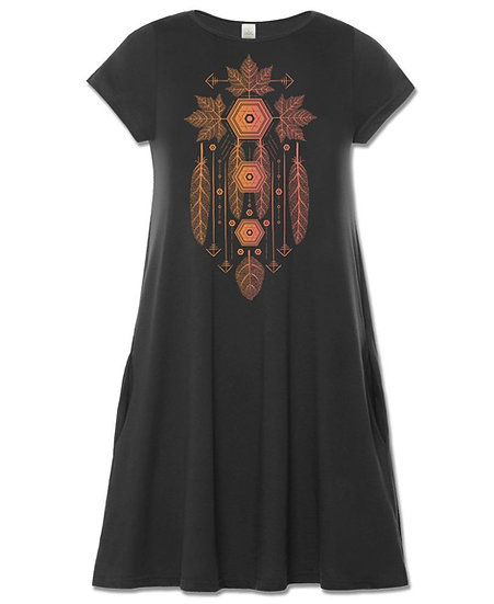 Dream Leaf T-shirt Dress with Pockets