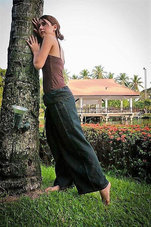 Solid Black Thai Fisherman Pants